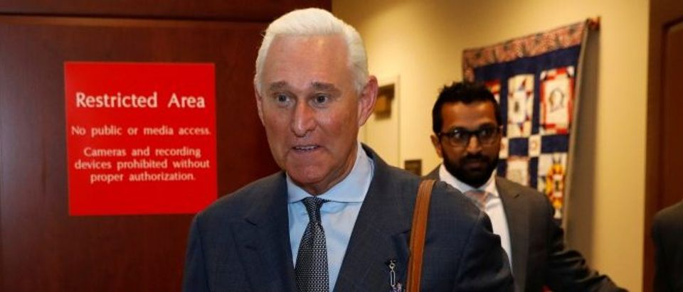 U.S. political consultant Roger Stone, a longtime ally of President Donald Trump, emerges from a closed hearing on Russian election interference in Washington