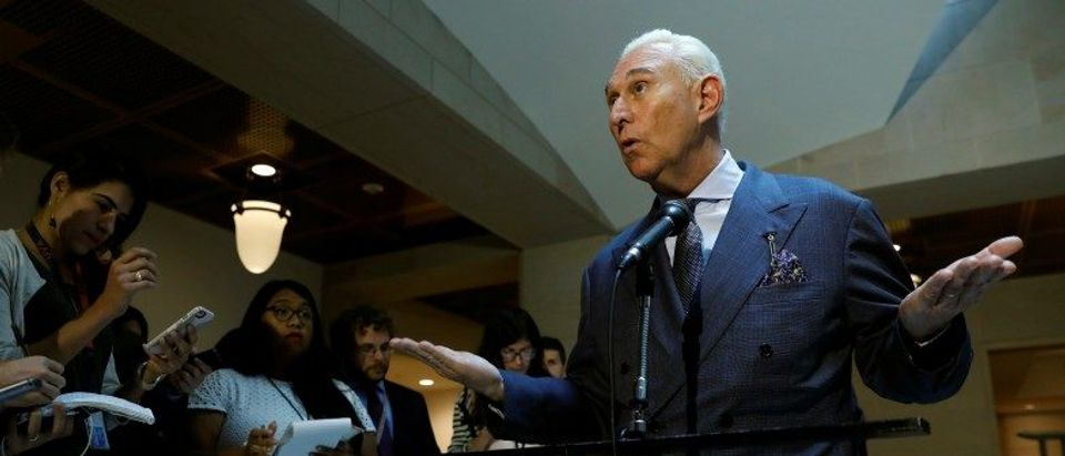 U.S. political consultant Roger Stone, a longtime ally of President Donald Trump, speaks after a closed door hearing on Russian election interference in Washington