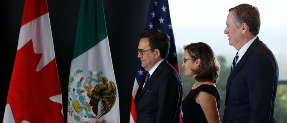 Mexico's Economy Minister Guajardo, Canada's Foreign Minister Freeland and U.S. Trade Representative Lighthizer arrive for a meeting during the third round of NAFTA talks in Ottawa