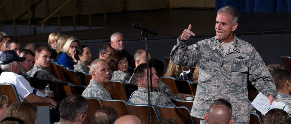 Superintendents Lt. Gen. Jay Silveria speaks at the United States Air Force Academy in Colorado