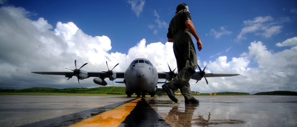 U.S. Air Force Master Sgt. Levi Denham, a WC-130J Hercules aircraft weather reconnaissance loadmaster assigned to the 53rd Reconnaissance Squadron, performs pre-engine start-up inspections in St. Croix, Virgin Islands, on Sept. 16, 2010. Known as Hurricane Hunters the 53rd Weather Reconnaissance Squadron's mission is to provide surveillance of tropical storms and hurricanes in the Atlantic Ocean, the Caribbean Sea, the Gulf of Mexico and the central Pacific Ocean for the National Hurricane Center in Miami. DoD photo by Staff Sgt. Manuel J. Martinez, U.S. Air Force. (Released)