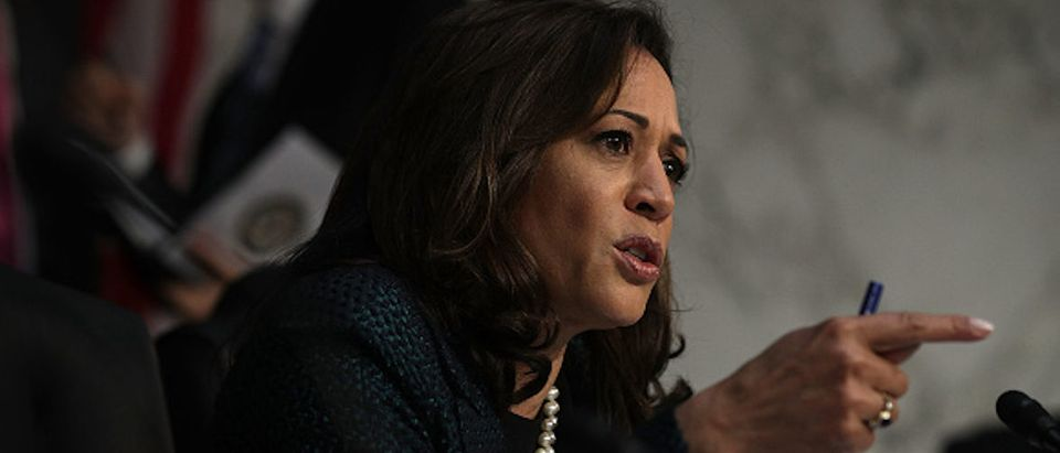 """WASHINGTON, DC - JUNE 21: U.S. Sen. Kamala Harris (D-CA) speaks during a hearing before the Senate (Select) Intelligence Committee June 21, 2017 on Capitol Hill in Washington, DC. The committee held a hearing on """"Russia's cyber efforts against our election systems in 2016, our response efforts, potential threats to our 2018 and 2020 elections, and how we are postured to protect against those threats."""" (Photo by Alex Wong/Getty Images)"""