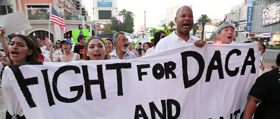 "LAS VEGAS, NV - SEPTEMBER 10: Nevada Senate Majority Leader Aaron D. Ford (D-Las Vegas) (3rd L) joins immigrants and supporters as they march on the Las Vegas Strip during a ""We Rise for the Dream"" rally to oppose U.S. President Donald Trump's order to end DACA on September 10, 2017 in Las Vegas, Nevada. The Obama-era Deferred Action for Childhood Arrivals program protects young immigrants who grew up in the U.S. after arriving with their undocumented parents from deportation to a foreign country. Trump's executive order removes protection for about 800,000 current ""dreamers,"" about 13,000 of whom live in Nevada. Congress has the option to replace the policy with legislation before DACA expires on March 5, 2018. (Photo by Ethan Miller/Getty Images)"