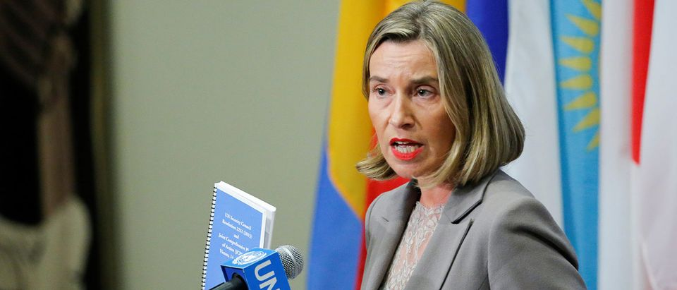 European Union Foreign Affairs Chief Mogherini gives her remarks after attending a meeting of the parties to the Iran nuclear deal during the 72nd United Nations General Assembly at U.N. headquarters in New York