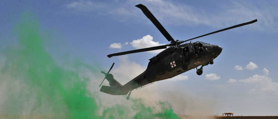 A US army Blackhawk helicopter from MEDE