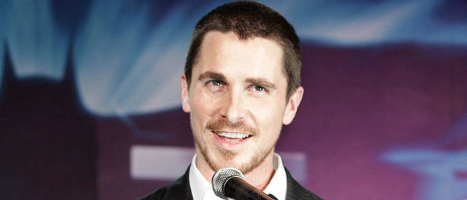 """Christian Bale speaks prior to the premiere of """"The Dark Knight"""" in Tokyo on July 28, 2008. (Photo: YOSHIKAZU TSUNO/AFP/Getty Images)"""