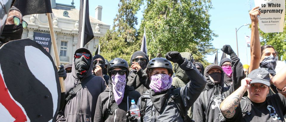 Antifa members and counter protesters gather during a rightwing No-To-Marxism rally on August 27, 2017 at Martin Luther King Jr. Park in Berkeley, California. / AFP PHOTO / Amy Osborne