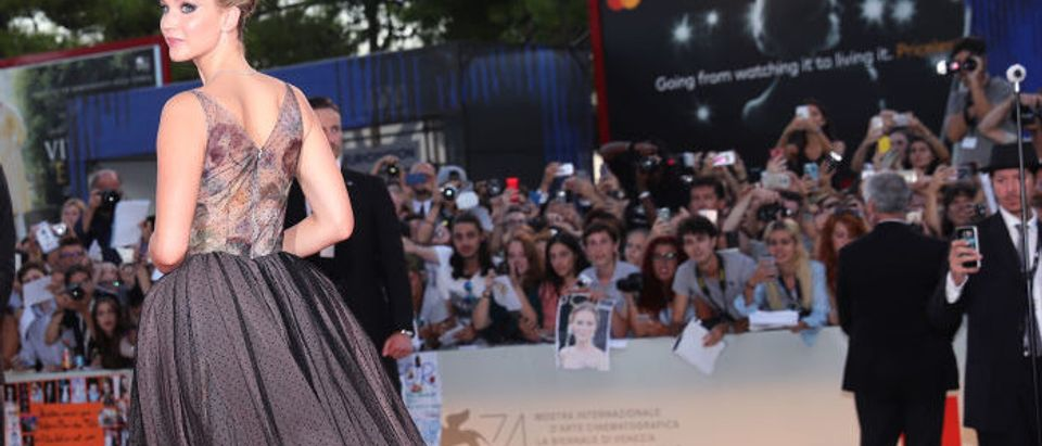 Jennifer Lawrence attends the Gala Screening and World Premiere of 'mother!' during the Venice Film Festival at Sala Grande on September 5, 2017 in Venice. (Photo by Vittorio Zunino Celotto/Getty Images for Paramount Pictures)