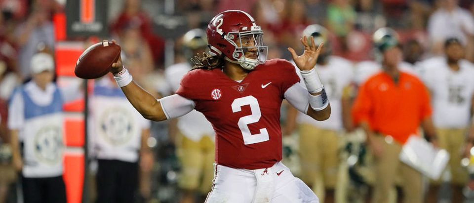 TUSCALOOSA, AL - SEPTEMBER 16: Jalen Hurts #2 of the Alabama Crimson Tide looks to pass against the Colorado State Rams at Bryant-Denny Stadium on September 16, 2017 in Tuscaloosa, Alabama. (Photo by Kevin C. Cox/Getty Images)