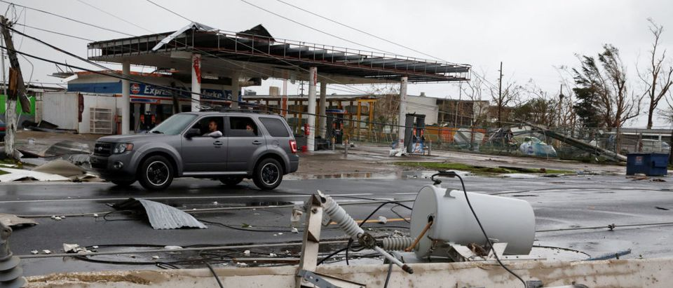 Damaged electrical installations are seen after the area was hit by Hurricane Maria en Guayama