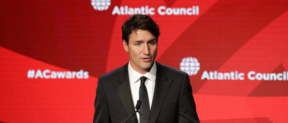 Canadian Prime Minister Justin Trudeau speaks after receiving the Global Citizen Award from the Atlantic Council in New York, U.S.