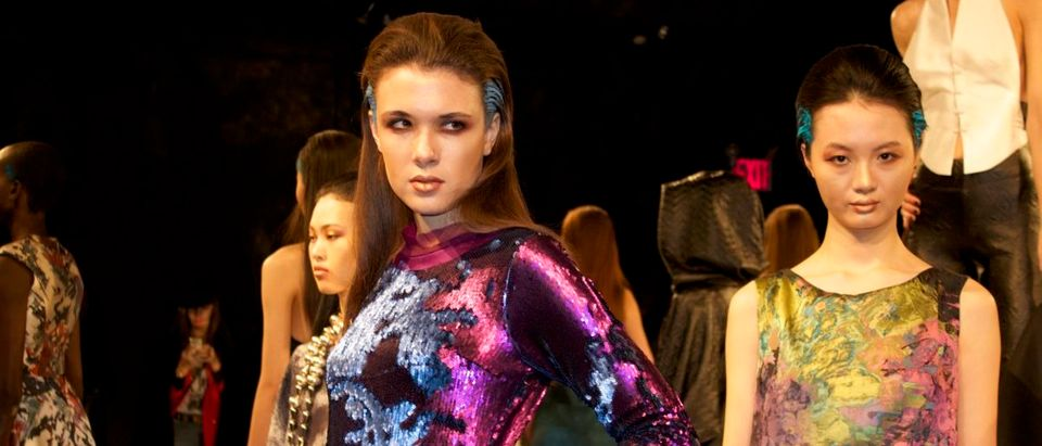 Models stare bleakly past camera flashes (Davis Richardson/The Daily Caller)