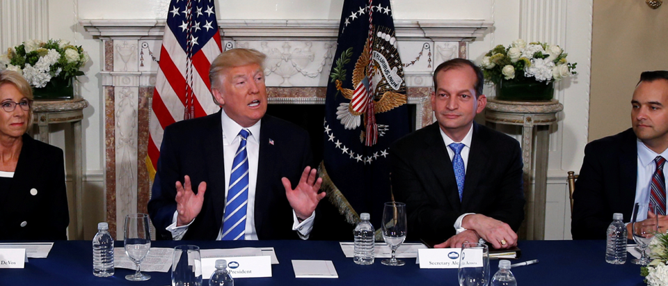 President Trump with Labor Sec. Acosta