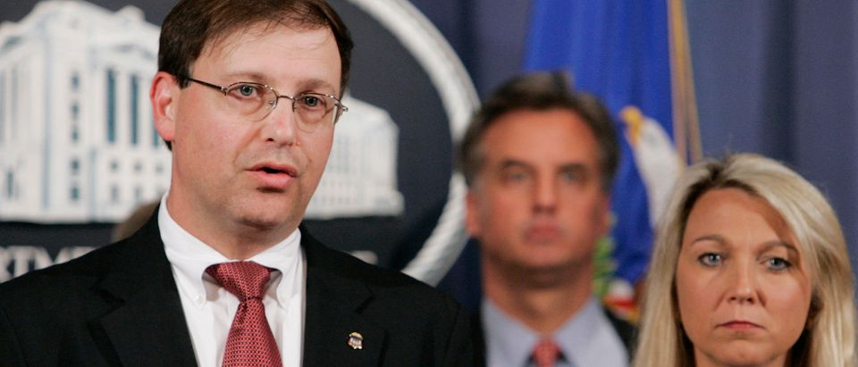 U.S. Attorney Chuck Rosenberg (L) is joined by Assistant Attorney General Alice Fisher (R) as they announce the indictment of Rep. William Jefferson (D-LA) on 16 counts of public corruption, including bribery, in Washington, June 4, 2007. Jefferson was indicted on Monday on 16 criminal counts for conspiring to solicit bribes and pay off a Nigerian official, with $90,000 of an intended bribe found hidden in his home freezer wrapped in aluminum foil. REUTERS/Larry Downing