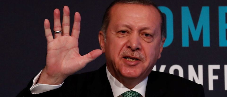 Turkish President Tayyip Erdogan makes a speech during a conference in Istanbul, Turkey, September 25, 2017. REUTERS/Murad Sezer