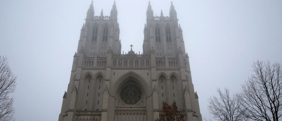 The National Cathedral is shrouded in fog before the National Prayer Service, which will be attended by U.S. President Donald Trump, in Washington, U.S., January 21, 2017. REUTERS/Joshua Roberts