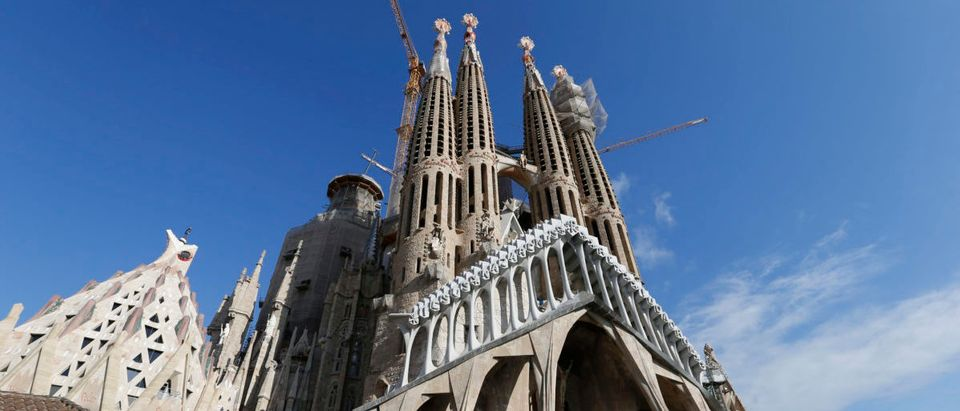 Towers and construction cranes are seen as work continues on the Basilica Sagrada Familia, which was designed by Antoni Gaudi, in Barcelona