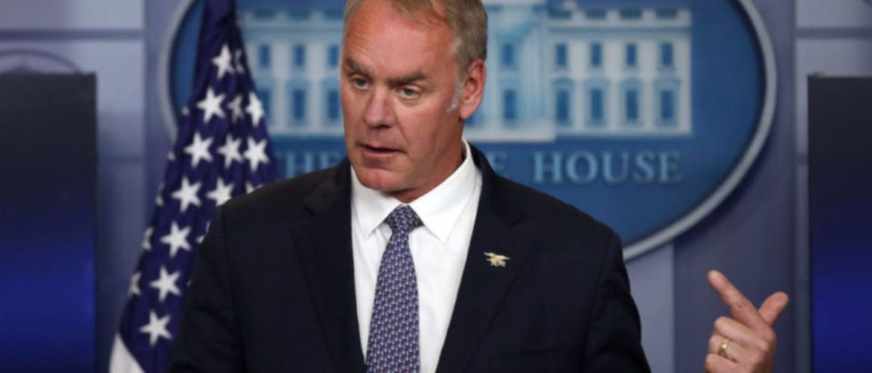 Secretary of the Interior Ryan Zinke speaks during a daily press briefing at the White House in Washington, U.S., April 3, 2017. (REUTERS/Carlos Barria)