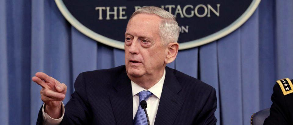 U.S. Defense Secretary James Mattis gestures to the media at the Pentagon in Washington, U.S., April 11, 2017. (REUTERS/Yuri Gripas)