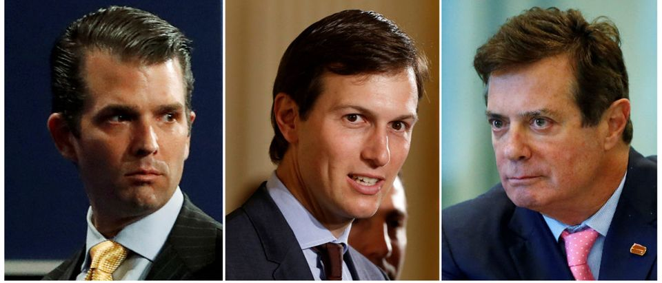 FILE PHOTO - A combination photo of Donald Trump Jr., Jared Kushner and Paul Manafort