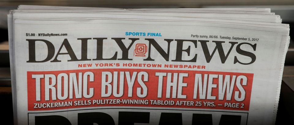 "A New York Daily News with the headline ""TRONC BUYS THE NEWS"" is seen on a newsstand in New York"