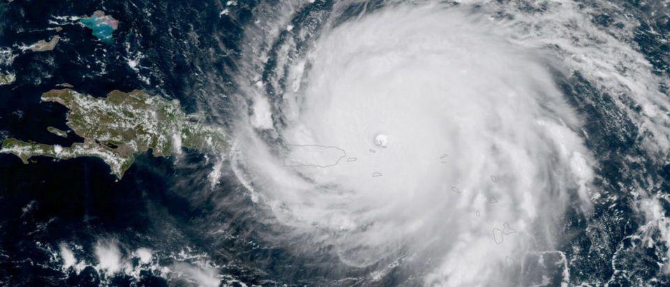 NOAA National Weather Service National Hurricane Center image of Hurricane Irma approaching Puerto Rico