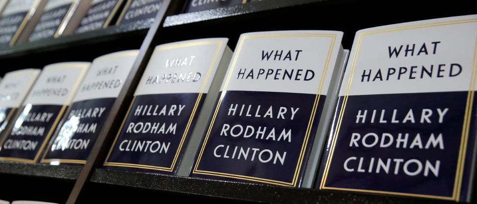 "Former Secretary of State Hillary Clinton's new book ""What Happened"" sits on shelves at Barnes & Noble bookstore at Union Square in Manhattan, New York"
