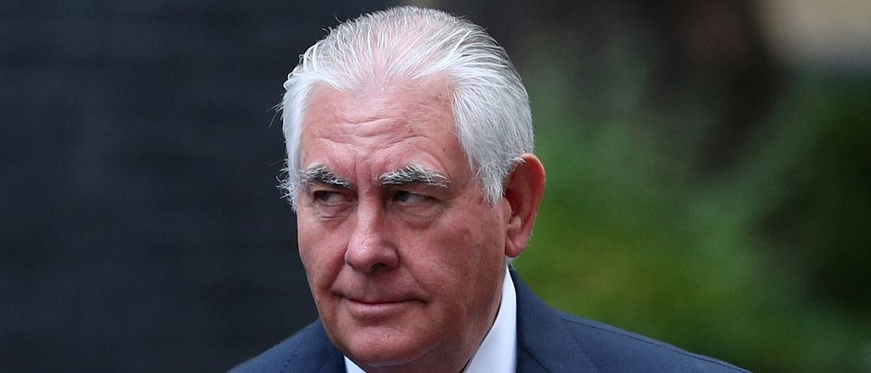 U.S. Secretary of State Rex Tillerson arrives at 10 Downing Street in London