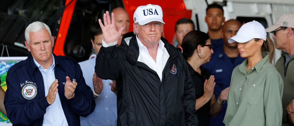 U.S. President Trump waves after briefing on Hurricane Irma relief efforts in Fort Myers, Florida