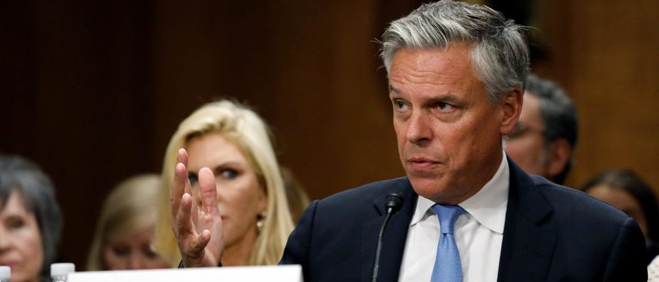 Former Gov. Jon Huntsman (R-UT) testifies before a Senate Foreign Relations Committee hearing on his nomination to be ambassador to Russia on Capitol Hill in Washington