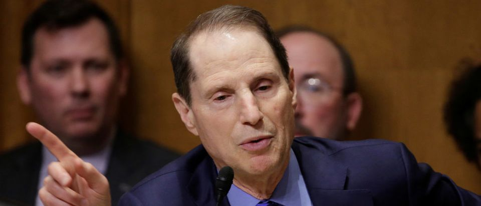 Senator Ron Wyden (D-OR) speaks during confirmation hearing for Steven Mnuchin on his nomination to be Treasury secretary in Washington