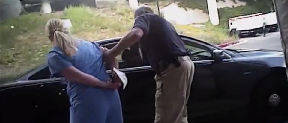 Nurse Alex Wubbles being arrested (Screenshot/Youtube/Deseret News)