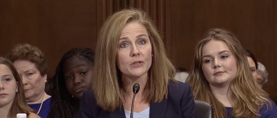 Notre Dame Law Professor Amy Coney Barrett speaks at her confirmation hearing for the 7th Circuit in September 2017. (Screenshot/CSPAN)