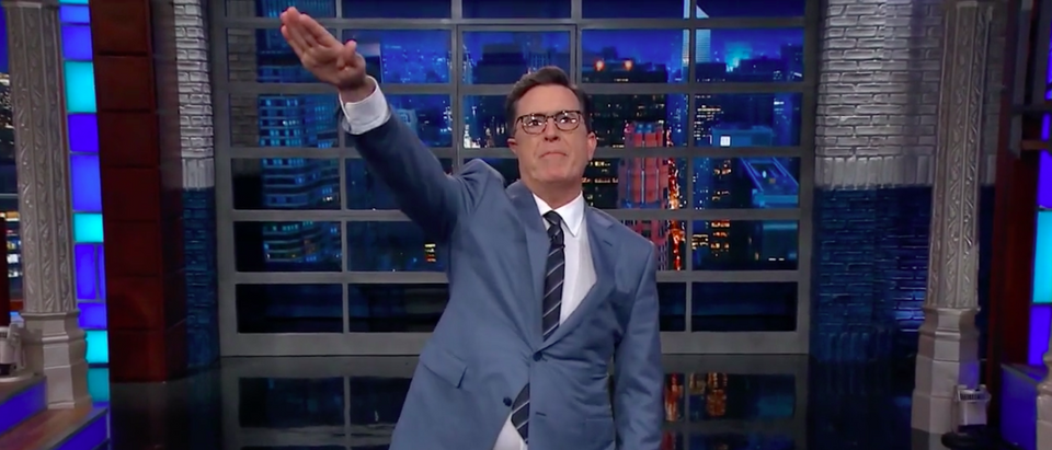 Screen Shot Stephen Colbert Nazi Salute (CBS: Sep 8, 2017)
