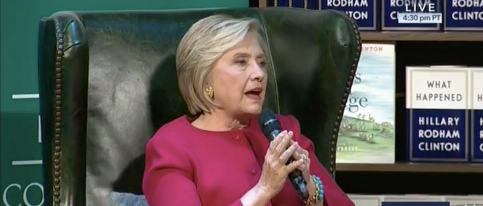 Screen Shot Hillary Clinton Cough (CSPAN: Sep 18, 2017)