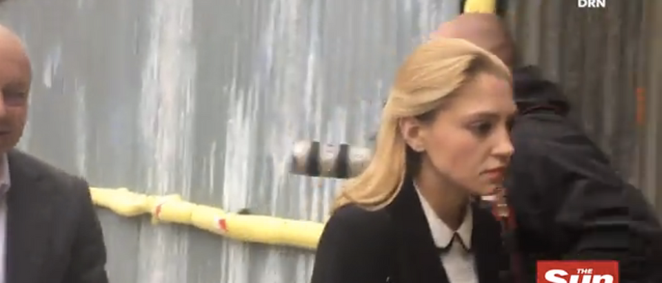 Lavinia Woodward enters the courthouse for her sentencing hearing (Screenshot/SunUK Video)