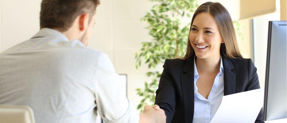 Woman in a job interview (Shutterstock/ Antonio Guillem)