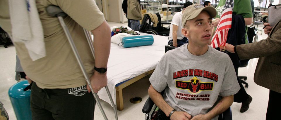 File photo of Sergeant John Krieselwaiting before a therapy session at the Physical Medicine and Rehabilitation center at the Walter Reed Army Medical Center in Washington