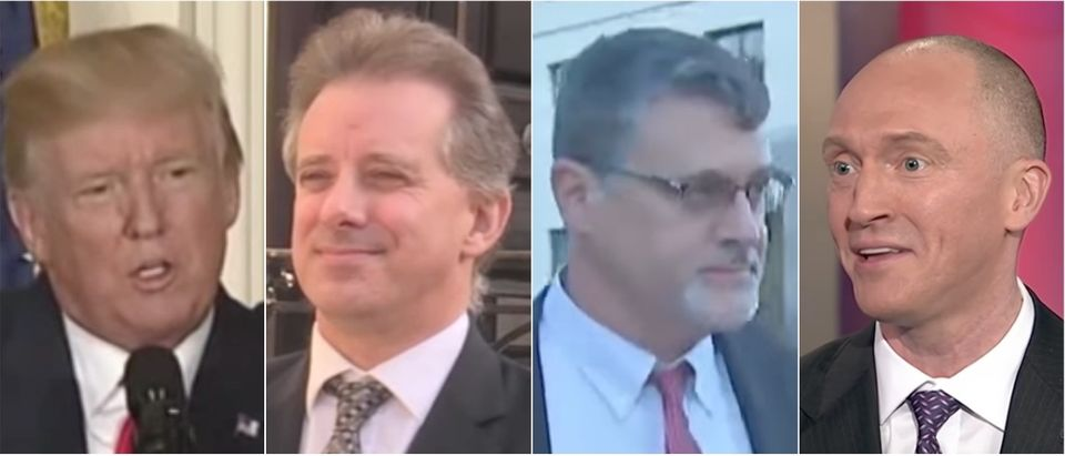 Donald Trump, Christopher Steele, Glenn Simpson and Carter Page. (Youtube screen grabs)