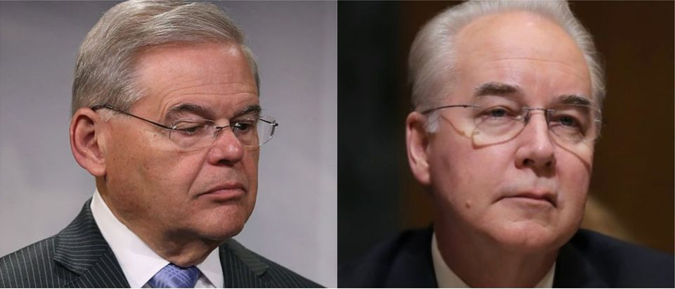 New Jersey Sen. Robert Menendez (Photo by Mark Wilson/Getty Images); Tom Price at his confirmation hearing (Photo by Carlos Barria/REUTERS)