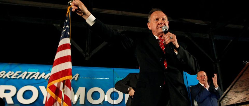 U.S. Senate candidate Judge Roy Moore campaigns at the Historic Union Station Train Shed in Montgomery, Alabama, U.S., September 21, 2017. REUTERS/Tami Chappell
