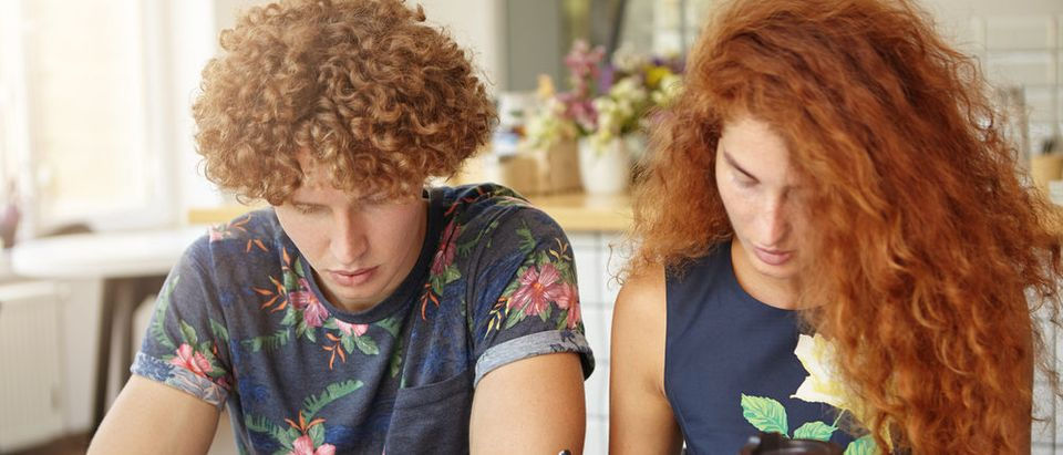 Curly-haired couple