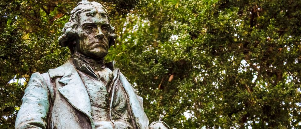 Thomas Jefferson statue at the University of Virginia (Shutterstock/Timothy Harding)
