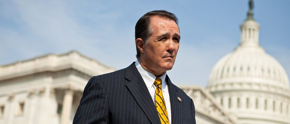 Rep. Trent Franks (R-AZ) listens during a news conference for the launch of the Congressional HIV/AIDS Caucus on Capitol Hill on September 15, 2011 in Washington, DC. Franks is a co-chair of the caucus, along with Rep. Jim McDermott (D-WA) and Rep. Barbara Lee (D-CA). The bi-partisan caucus has attracted approximately 50 members. Brendan Hoffman/Getty Images.