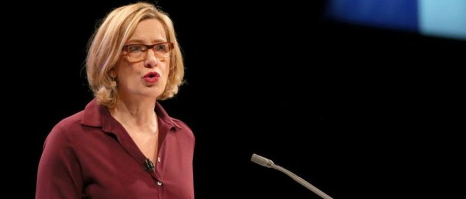 Britain's Home Secretary Amber Rudd speaks at the Conservative Party conference in Manchester