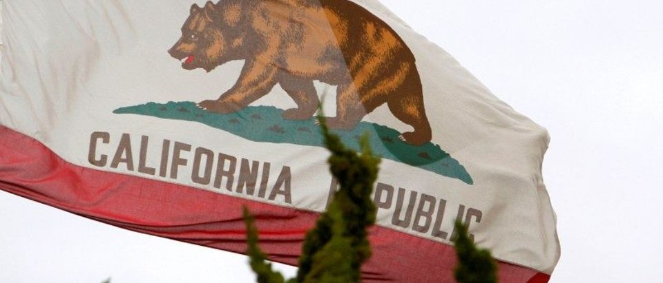 FILE PHOTO - California flag flies above City Hall in Santa Monica
