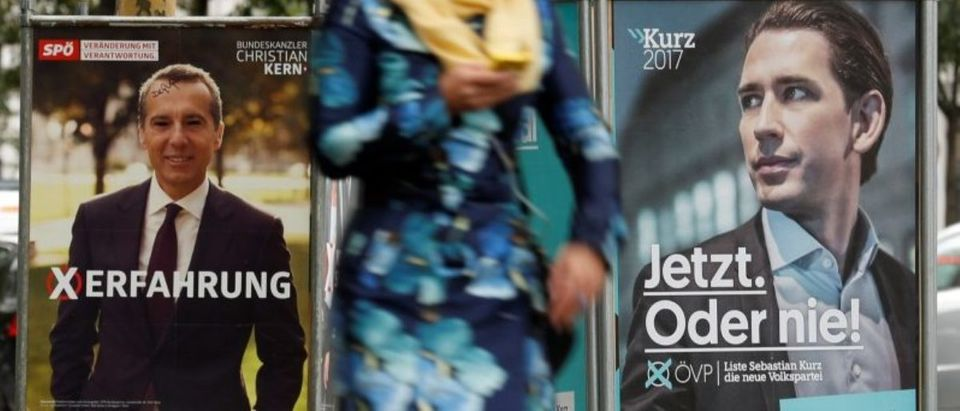 Election campaign posters of the SPOe showing Chancellor Kern and of the OeVP showing Vice Chancellor Kurz are seen in Vienna