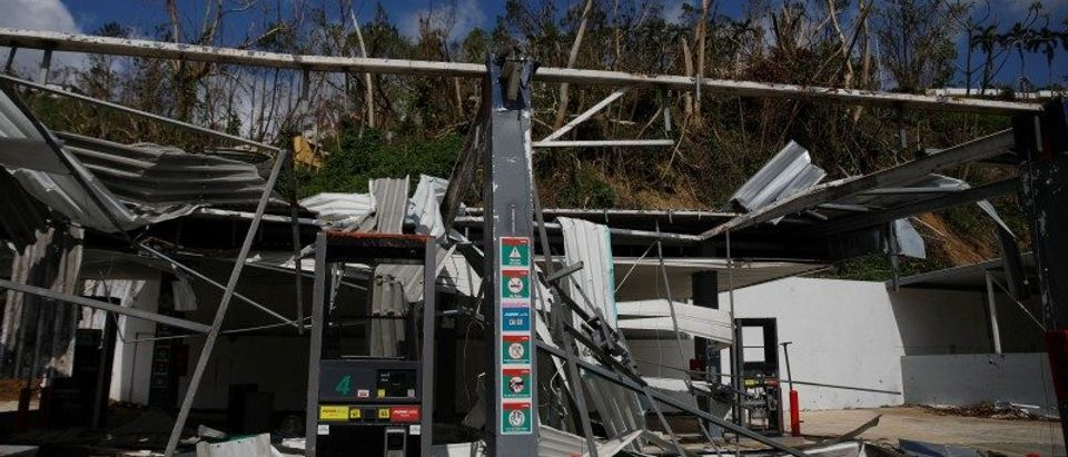 Gas station sits in ruins after Hurricane Maria in the municipality of Naranjito outside San Juan
