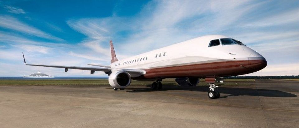 Handout photo of an exterior view of the Skyacht model of Embraer S.A. Aerospace company's private jet lineage