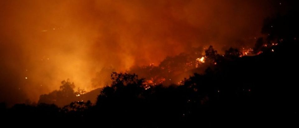 The Pocket wildfire burns in the hills above Geyserville